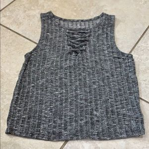 American Eagle Lace Up Ribbed Tank Top L